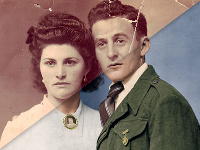 Restauration photo - Couple vintage
