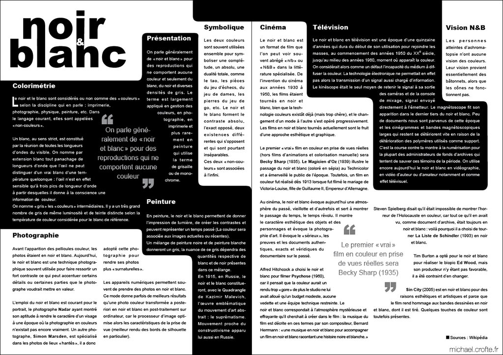portfolio noir et blanc typographique bycrofte micha l crofte infographiste webdesigner et. Black Bedroom Furniture Sets. Home Design Ideas